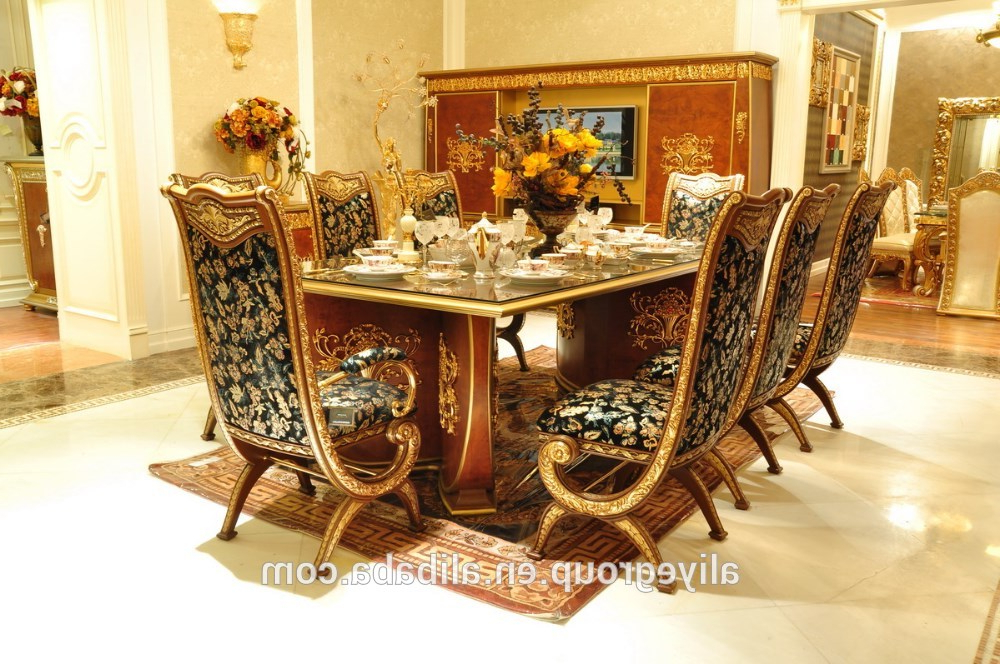 Trendy Royal Dining Tables Within Aas46500 Royal Design Italian Style Dining Table Set Luxury Wooden (View 9 of 20)