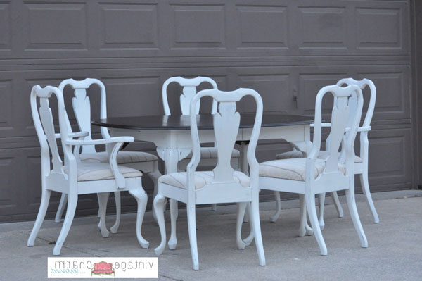 Trendy Shabby Chic White Dining Table And Chairs Inside Shabby Chic Dining Chairs (View 11 of 20)