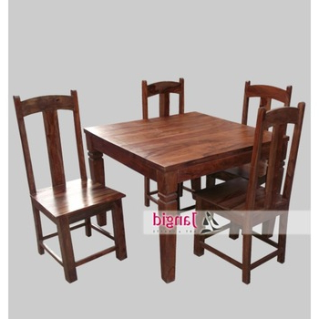 Trendy Sheesham Dining Tables And 4 Chairs Inside Latest Indoor Indian Sheesham Wooden Square 4 Seater Dining Table (View 19 of 20)