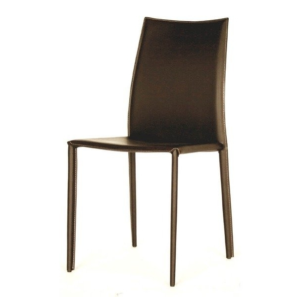 Trendy Shop Modern Brown Faux Leather Dining Chair 2 Piece Setbaxton Within Brown Leather Dining Chairs (View 12 of 20)