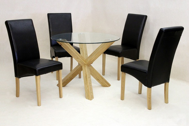 Trendy Solid Oak Round Glass Dining Table Only (View 17 of 20)