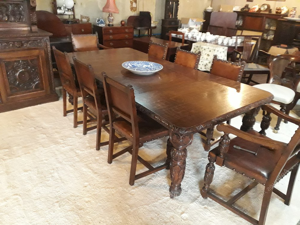 Trendy Superb Carved Oak Dining Room Suites&h Jewell – Antiques Atlas Pertaining To Oak Dining Suite (View 13 of 20)