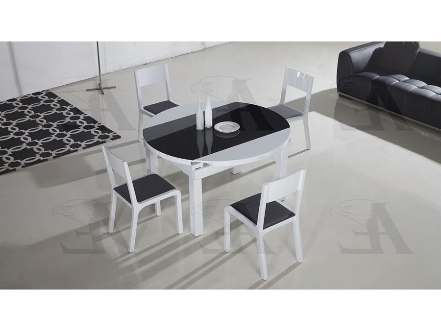 Trendy Table Top Extendable Dining Table Set In Black & White – Shop For Throughout Black Extendable Dining Tables Sets (View 13 of 20)