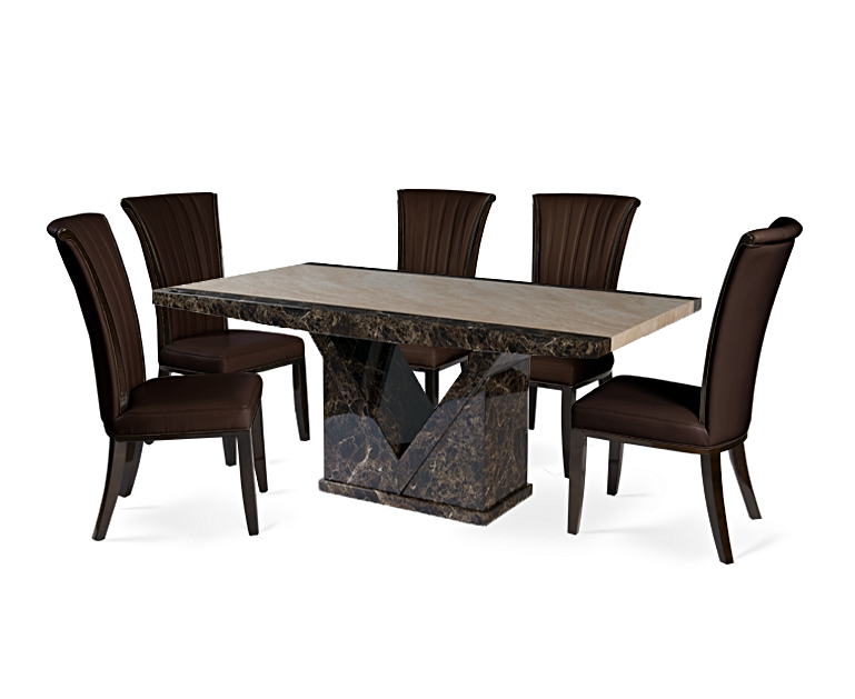 Trendy Tenore 220cm Marble Effect Dining Table With Alpine Chairs In Marble Effect Dining Tables And Chairs (View 10 of 20)