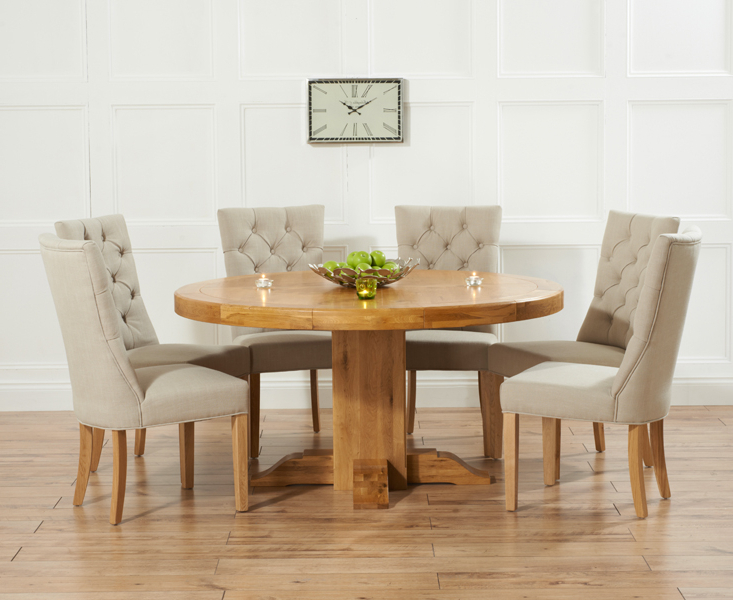Trendy Torino 150Cm Solid Oak Round Pedestal Dining Table With Anais Fabric In Oak Round Dining Tables And Chairs (View 20 of 20)
