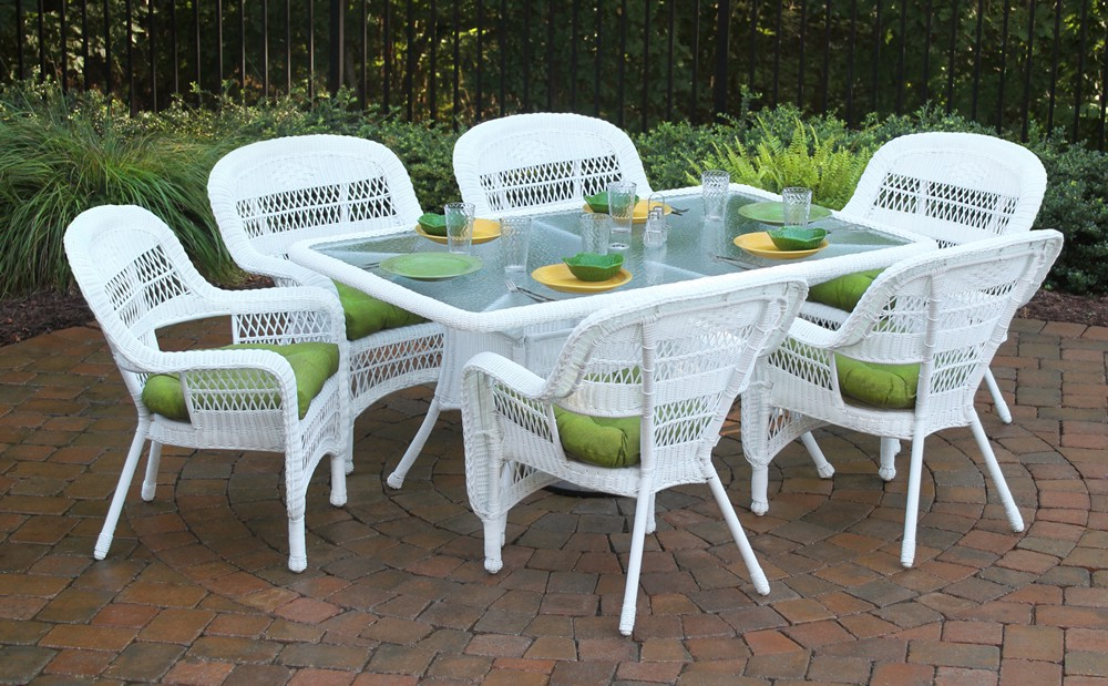 "Trendy Tortuga Outdoor Portside 7 Piece 66"" Wicker Dining Set – Wicker For Rattan Dining Tables And Chairs (View 18 of 20)"
