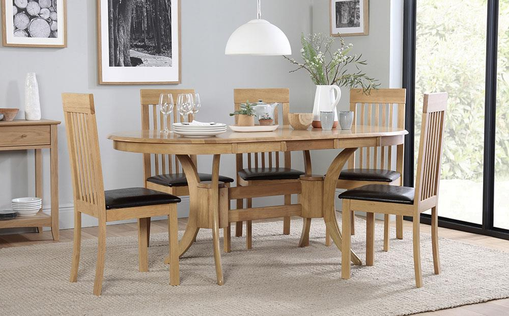 Trendy Townhouse Oval Extending Dining Table And 6 Oxford Chairs Set Only Pertaining To Oval Extending Dining Tables And Chairs (View 19 of 20)