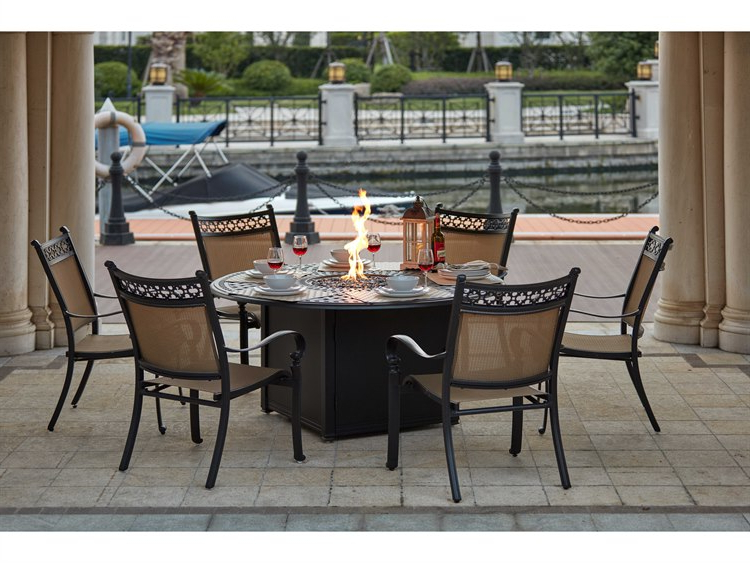 Trendy Valencia 72 Inch 7 Piece Dining Sets Throughout Darlee Outdoor Living Standard Mountain View Cast Aluminum 7 Piece (View 15 of 20)