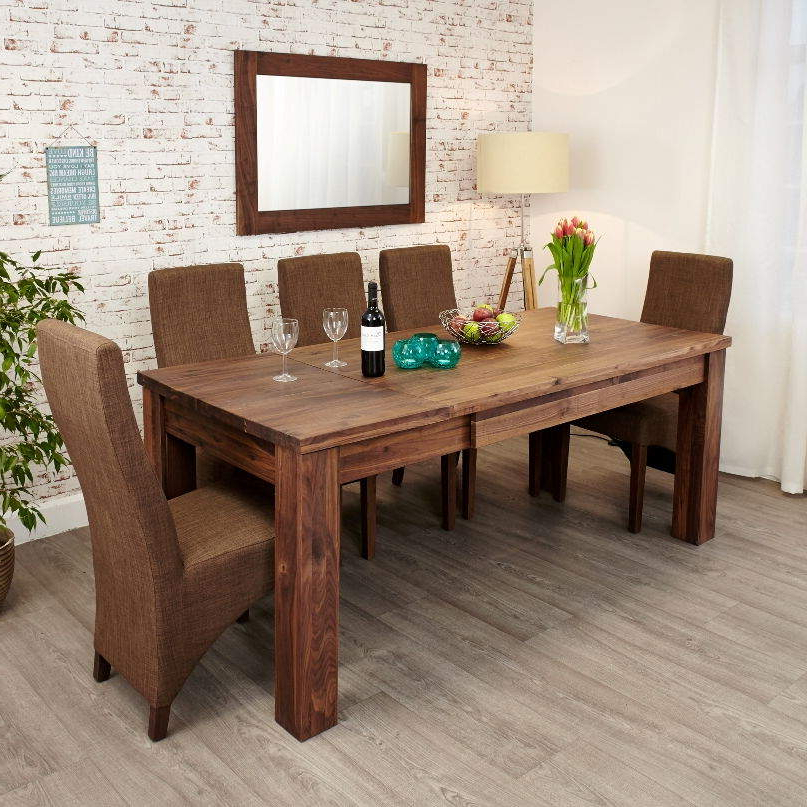 Trendy Walnut Dining Table And 6 Chairs With Regard To Mayan Walnut Extending Dining Table • Akd Furniture (View 15 of 20)