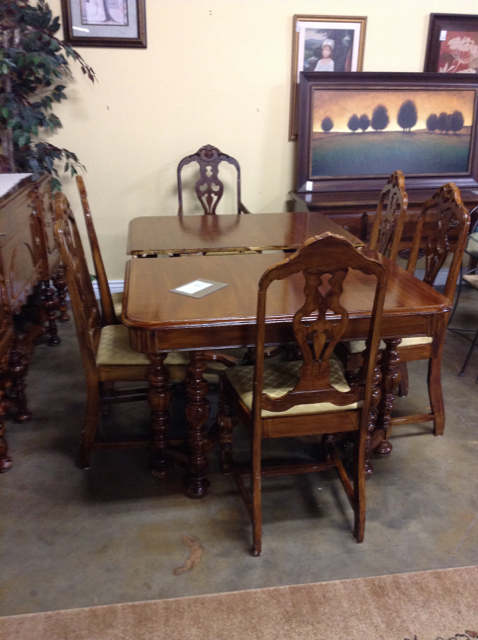 Trendy Walnut Dining Tables And 6 Chairs Regarding 1920's Jacobean Walnut Dining Table W/ 6 Chairs (View 19 of 20)