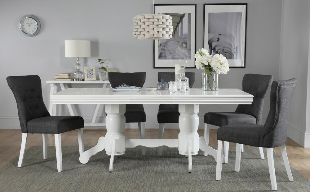 Trendy White Dining Tables And 6 Chairs Pertaining To Chatsworth White Extending Dining Table With 6 Bewley Slate Chairs (View 9 of 20)