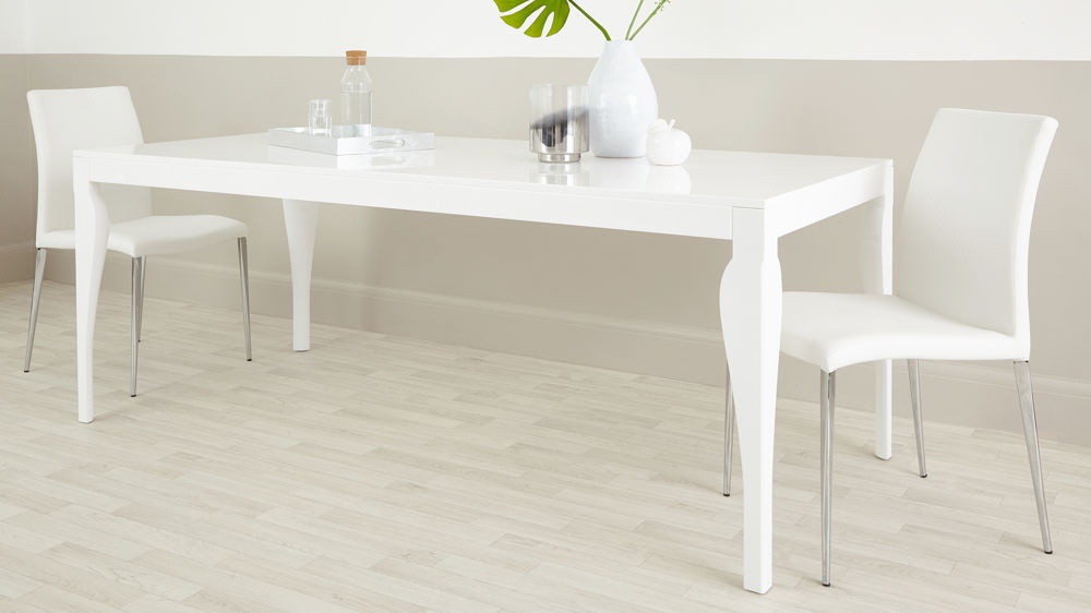 Trendy White Gloss Dining Room Furniture For 8 Seater Modern Dining Table (View 4 of 20)