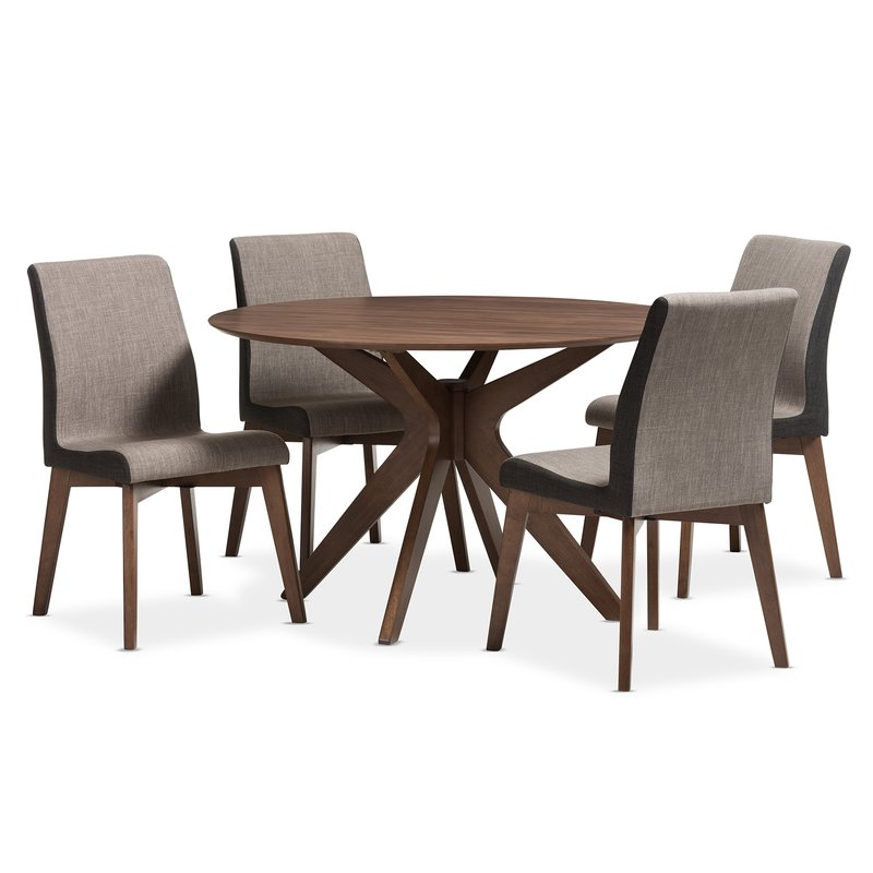 Trendy Wholesale Interiors Kimberly Mid Century Modern Wood Round 5 Piece With Regard To Laurent 5 Piece Round Dining Sets With Wood Chairs (View 5 of 20)