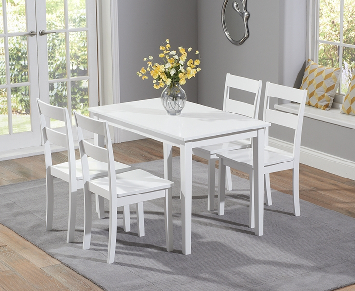 Trendy Widnes White 115Cm Dining Set With 4 Chairs Regarding White Dining Tables And Chairs (View 13 of 20)