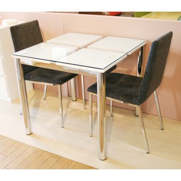 Trendy Woodylife: Dining Table Made Of Glass Width 80 Cm White White With Dining Tables For Two (View 15 of 20)