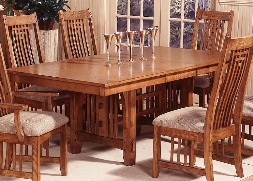 Trestle Dining Table With Regard To Craftsman 7 Piece Rectangular Extension Dining Sets With Arm & Uph Side Chairs (View 18 of 20)