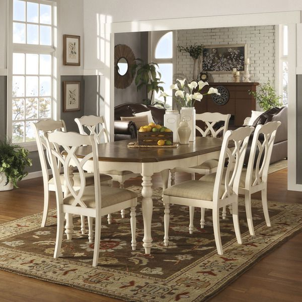 Tribecca Home Shayne Country Antique Two Tone White 7 Piece Intended For Newest Craftsman 7 Piece Rectangle Extension Dining Sets With Arm & Side Chairs (View 7 of 20)