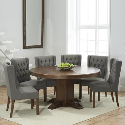 Trina Dark Solid Oak Round Dining Table With 6 Sophia Grey Chairs Within Most Recently Released Dining Tables With Grey Chairs (View 11 of 20)