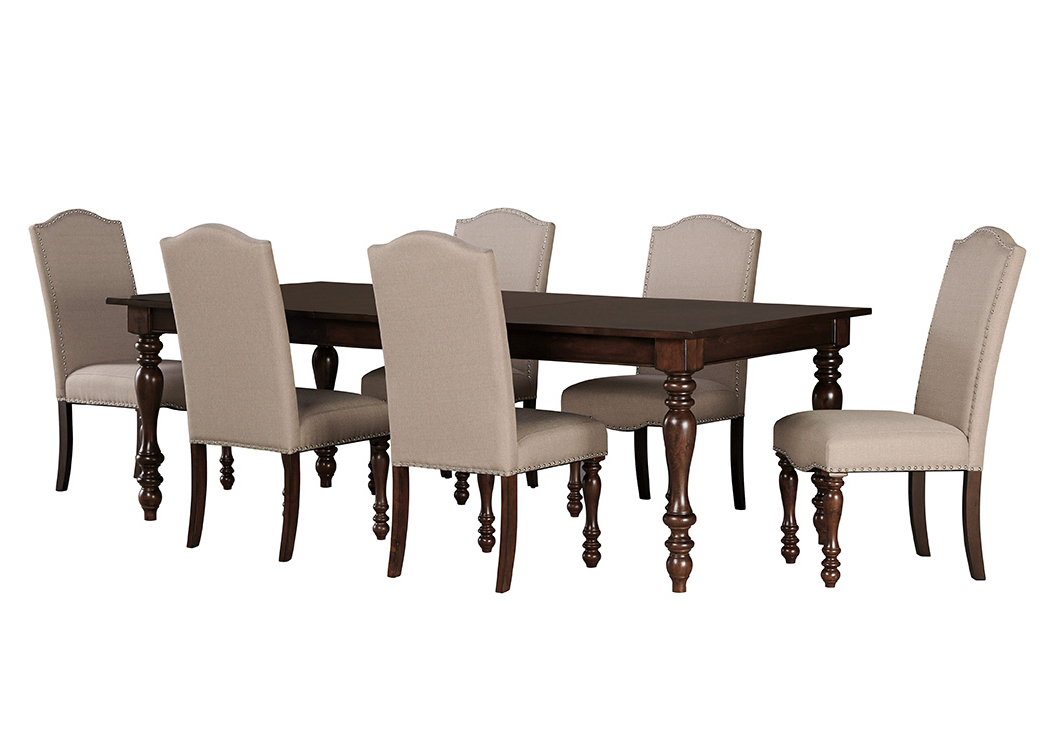 Tucker Furniture Baxenburg Brown Rectangular Dining Room Extension In Widely Used Craftsman 7 Piece Rectangle Extension Dining Sets With Uph Side Chairs (Gallery 17 of 20)