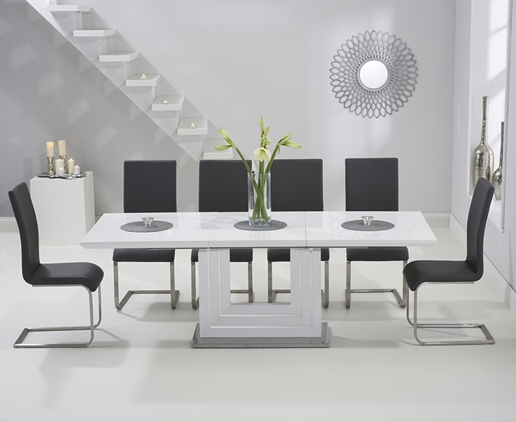 Tula 160cm White High Gloss Extending Dining Table With Malaga Chairs In Famous Black Gloss Extending Dining Tables (View 12 of 20)