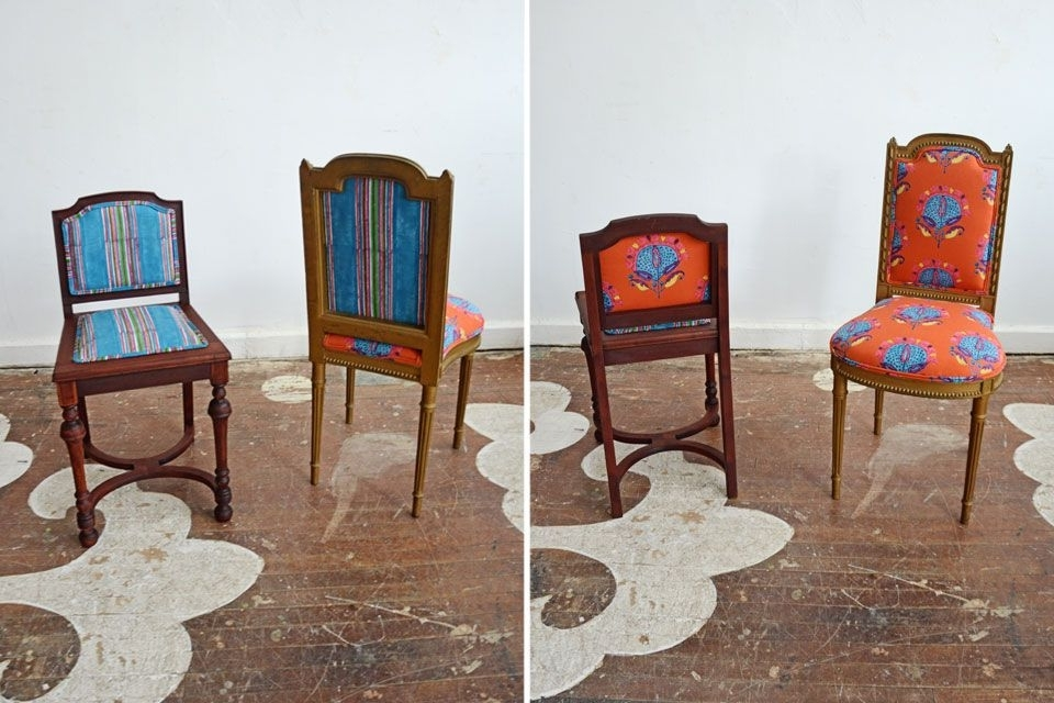 Two Antique Side Chairs For A New York Client, Freshly Reupholstered In Most Current Clint Side Chairs (View 9 of 20)