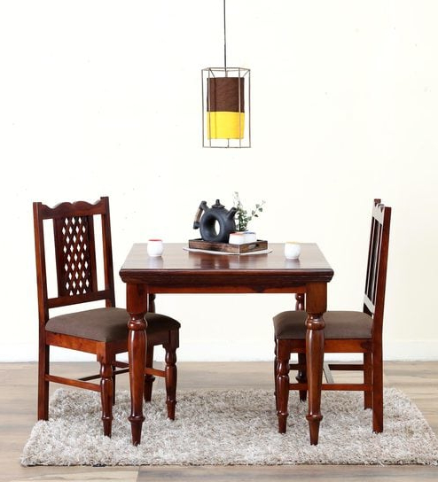 Two Seat Dining Tables For Most Popular Buy Krisa Solid Wood Two Seater Dining Set In Honey Oak Finish (Gallery 7 of 20)
