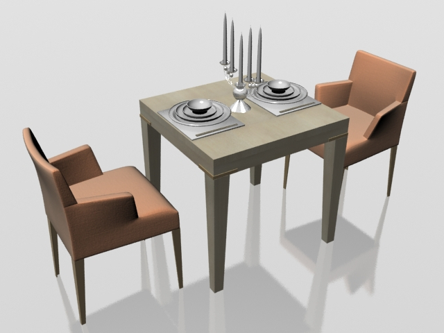 Two Seater Dining Set 3D Model 3Dsmax Files Free Download – Modeling Regarding Most Popular Two Seater Dining Tables And Chairs (View 17 of 20)