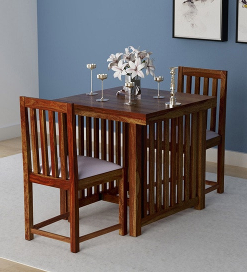 Two Seater Dining Tables And Chairs For Most Recently Released Buy Abbey Solid Wood Two Seater Dining Set In Provincial Teak Finish (Gallery 20 of 20)