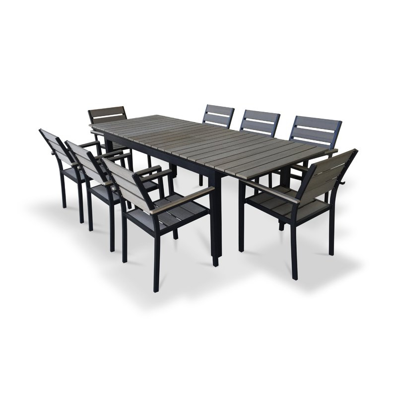 Urban Furnishings 9 Piece Extendable Outdoor Dining Set & Reviews Throughout Widely Used Outdoor Extendable Dining Tables (Gallery 7 of 20)