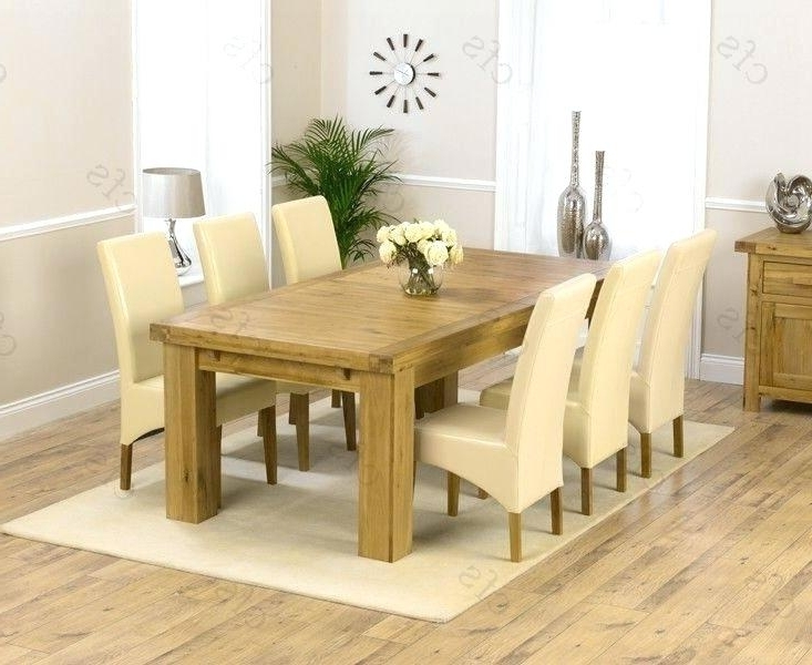 Used Oak Dining Room Table And 6 Chairs Solid Wood With Leather With Regard To Latest Chunky Solid Oak Dining Tables And 6 Chairs (View 17 of 20)