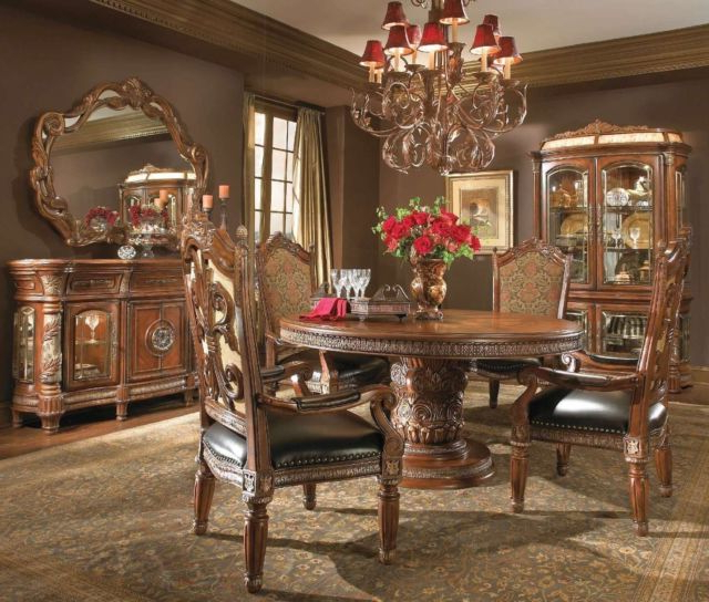 Valencia 3 Piece Counter Sets With Bench With Well Known Michael Amini Villa Valencia Traditional Round Oval Table Chairs (View 16 of 20)