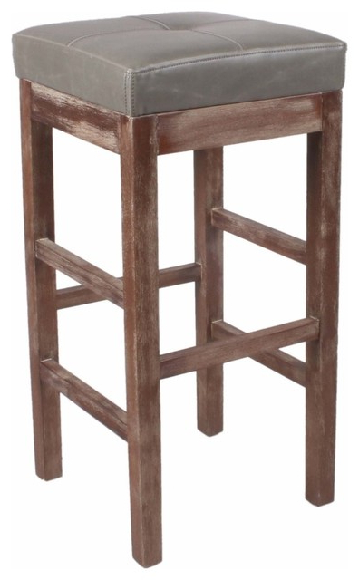 Valencia 4 Piece Counter Sets With Bench & Counterstool Throughout Most Recently Released Valencia Bonded Leather Bar Stool With Driftwood Legs – Farmhouse (View 10 of 20)