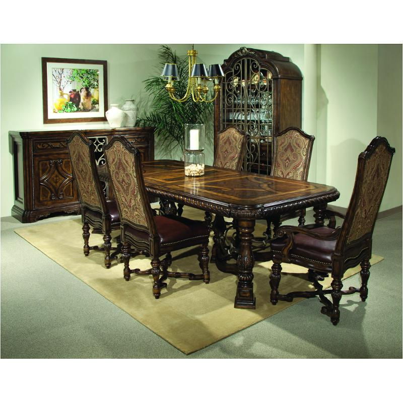 Valencia 5 Piece Round Dining Sets With Uph Seat Side Chairs Throughout Most Current 209221 2304Tp A R T Furniture Valencia Trestle Dining Table (View 16 of 20)