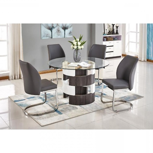 Valencia 5 Piece Round Dining Sets With Uph Seat Side Chairs With Regard To Latest Argot Gray 5 Pc Dining Room (Gallery 17 of 20)