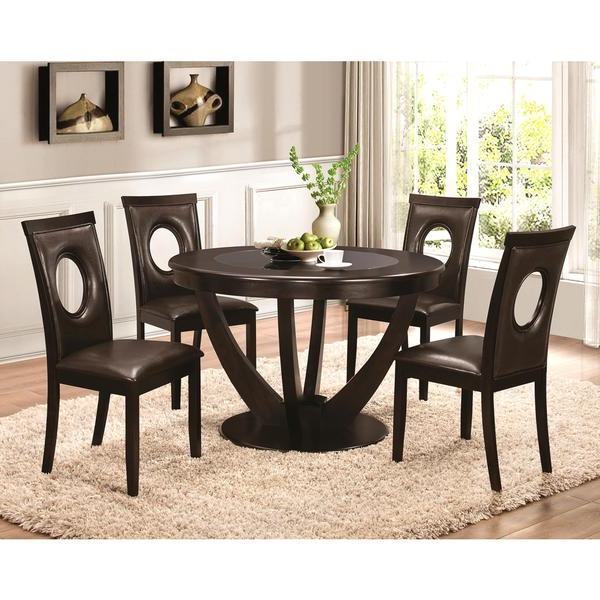 Valencia 72 Inch 7 Piece Dining Sets Inside Most Recently Released Shop Valencia Casual 5 Piece Round Dininig Set With Black Tempered (View 12 of 20)