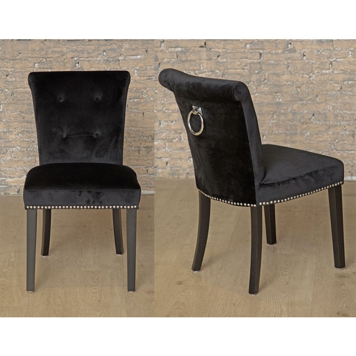Velvet Dining Chairs Intended For Preferred Pair Of Black Giovanni Chairs – Giovanni Chair Collection (Gallery 20 of 20)