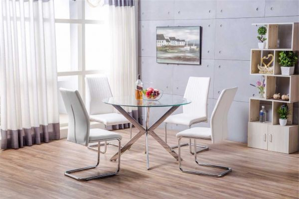 Venice Chrome Metal Round Circular Glass Dining Table And 4 White Regarding Most Up To Date White Dining Tables And Chairs (Gallery 15 of 20)