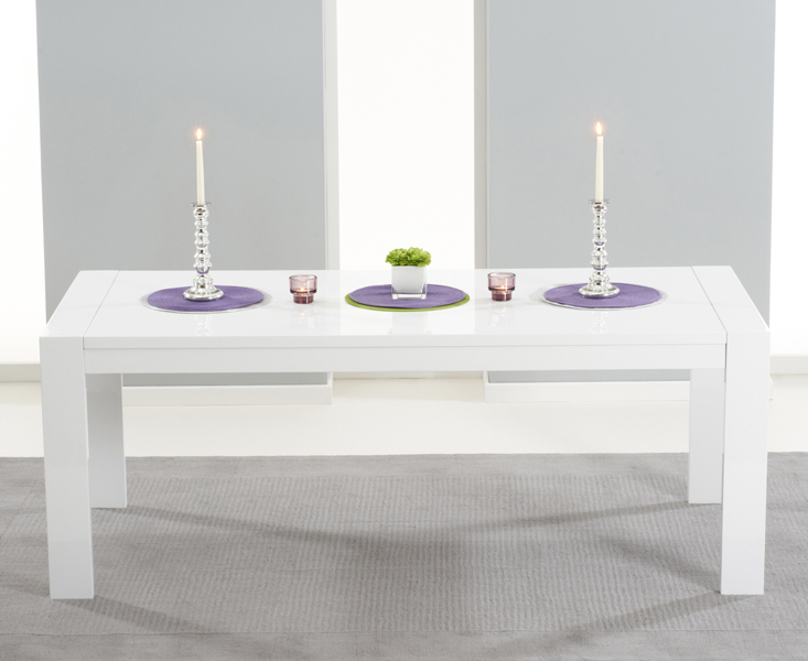 Venice White High Gloss Extending Dining Table (200Cm 300Cm) (Gallery 9 of 20)