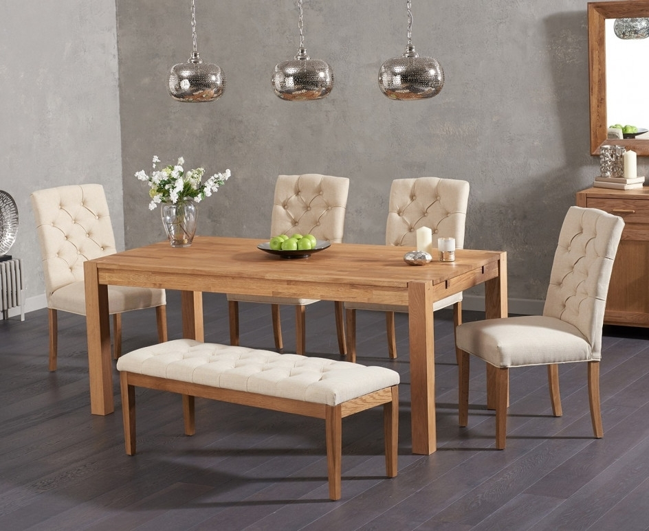 Verona 150Cm Solid Oak Dining Table With Candice Fabric Chairs And With Regard To Most Recently Released Candice Ii 6 Piece Extension Rectangle Dining Sets (Gallery 7 of 20)