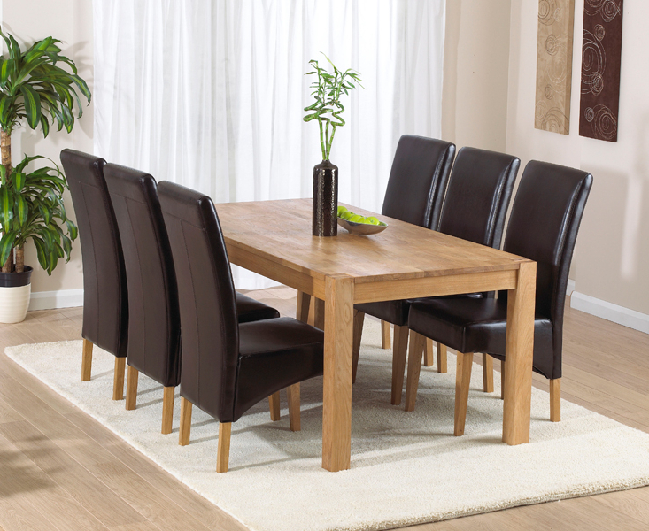 Verona 180Cm Solid Oak Dining Table With Cannes Chairs Intended For Popular Verona Dining Tables (Gallery 6 of 20)