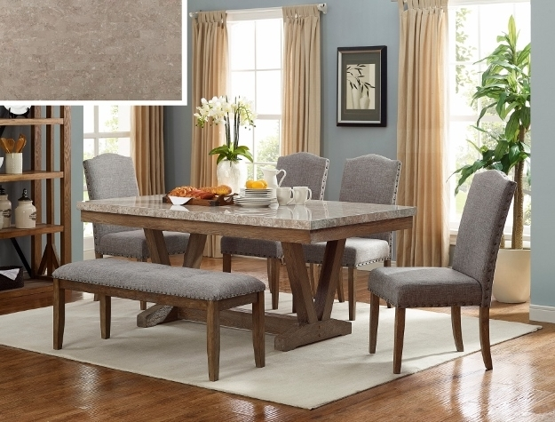 Vespa Side Chairs For Preferred 1211T 4272 6 Pc Vespa Brown Finish Wood Marble Top Dining Table Set (View 13 of 20)