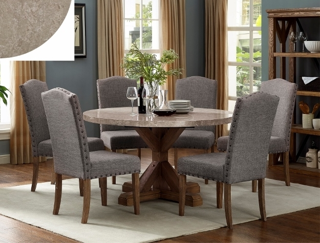 Vespa Side Chairs Within Fashionable 1211t 54 7 Pc Vespa Brown Finish Wood Round Marble Top Dining Table Set (View 18 of 20)