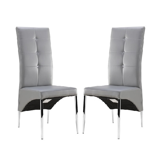 Vesta Studded Dining Room Chair In Grey Faux Leather In A Within Most Recently Released Grey Leather Dining Chairs (View 4 of 20)