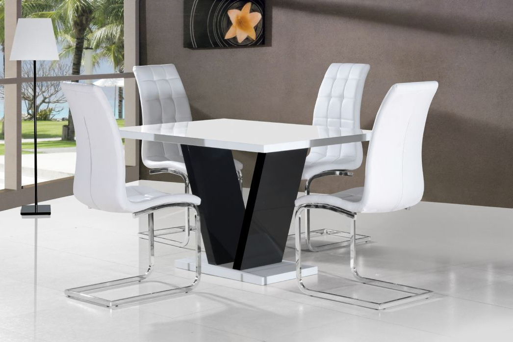 Vico White Black Gloss Contemporary Designer 120Cm Dining Table Only For Most Recent White Gloss Dining Tables 120Cm (Gallery 5 of 20)