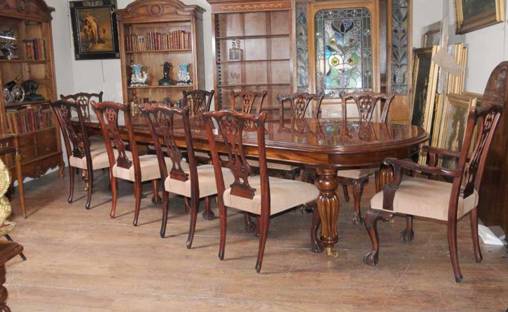 Victorian Dining Table Set Chippendale Chairs Set Suite Mahogany Intended For Widely Used Mahogany Dining Tables Sets (View 18 of 20)