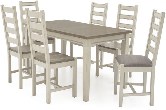 Vida Living Craft Grey And Ivory Painted 1.6 Ext Dining Table And 6 Pertaining To 2018 Ivory Painted Dining Tables (Gallery 15 of 20)