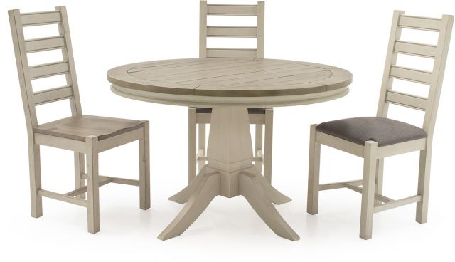 Vida Living Craft Grey And Ivory Painted Round 1.2 Dining Table And Inside Most Current Ivory Painted Dining Tables (Gallery 13 of 20)