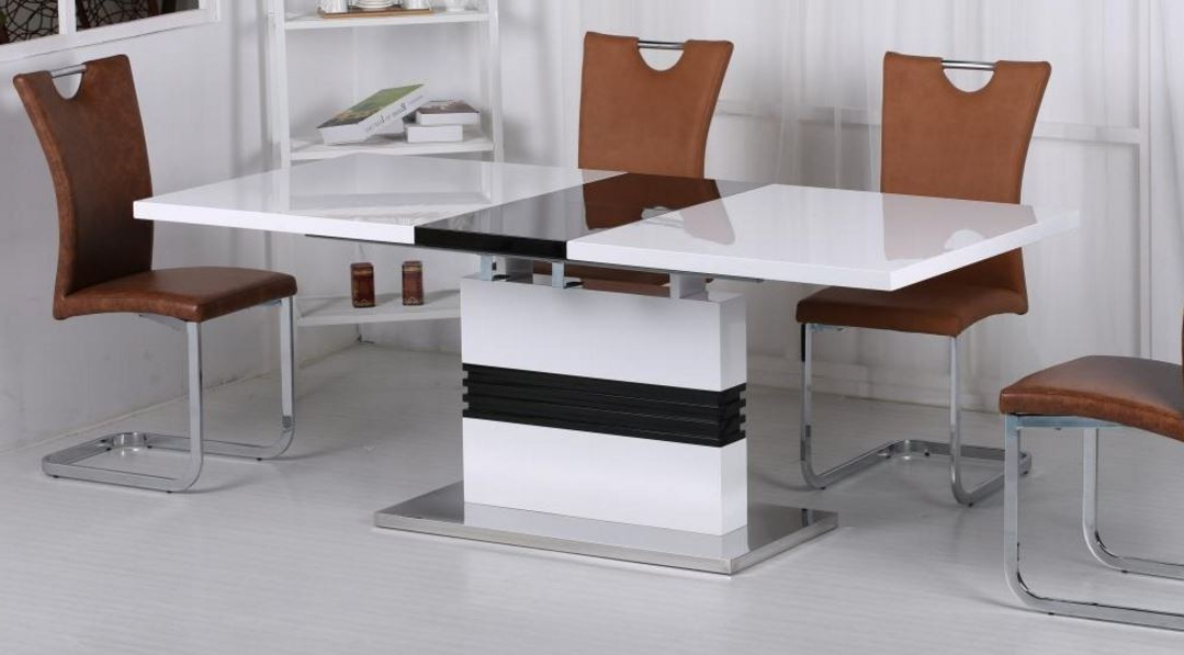 Vienna Dining Tables Within Well Known Vienna White And Black High Gloss Extending Dining Table (View 15 of 20)