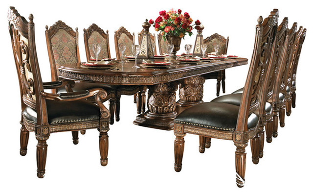 Villa Valencia 15 Piece Rectangular Dining Room Set – Victorian Within Newest Valencia 72 Inch 6 Piece Dining Sets (Gallery 5 of 20)