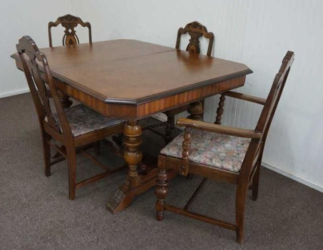 """Vintage 1920's 1930's """"butterfly Leaf"""" Mahogany Dining Table With 4 Regarding Favorite Mahogany Dining Tables And 4 Chairs (Gallery 1 of 20)"""